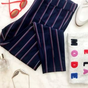 Navy Vertical Stripe Front Seam Ponte Skinny Pants